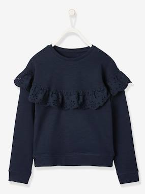 Girls-Cardigans, Jumpers & Sweatshirts-Sweatshirt for Girls, Broderie Anglaise Ruffle