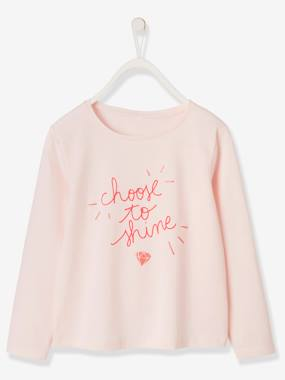 haut-T-Shirt with Message & Motif in Iridescent Puff Ink for Girls
