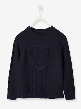 Mid season sale-Girls-Cardigans, Jumpers & Sweatshirts-Top in Fancy Knit with Heart for Girls