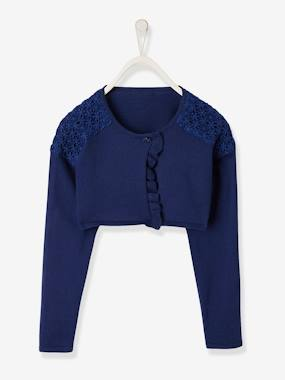 Girls-Cardigans, Jumpers & Sweatshirts-Bolero Cardigan for Girls, Ruffled & Macramé Details