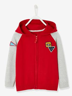 Boys-Cardigans, Jumpers & Sweatshirts-Cardigans-Jacket with Zip & Fun Patches, for Boys