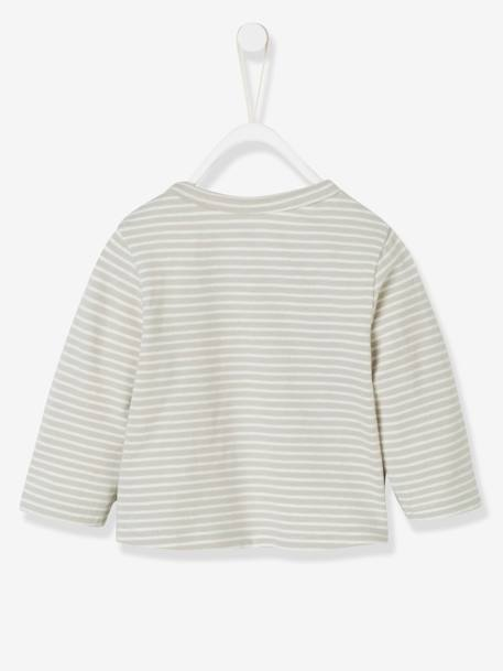 Striped Cardigan for Babies, Fish Motif GREY LIGHT STRIPED - vertbaudet enfant