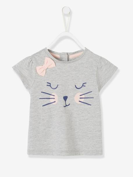 Baby T-shirt with Motif & Bow GREY LIGHT MIXED COLOR+Medium grey marl+PINK DARK SOLID WITH DESIGN+YELLOW LIGHT SOLID WITH DESIGN - vertbaudet enfant