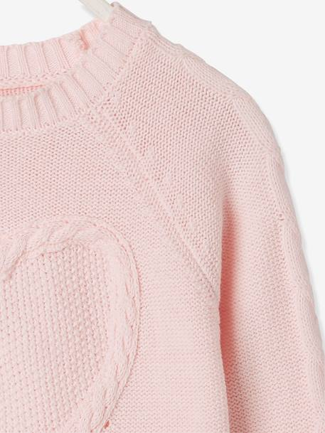 Top in Fancy Knit with Heart for Girls PINK LIGHT SOLID WITH DESIGN - vertbaudet enfant