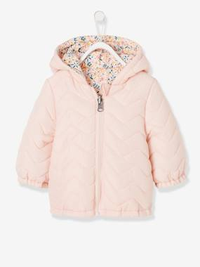Baby-Outerwear-Coats-Light Reversible Jacket with Motifs for Baby Girls