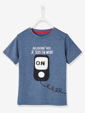 Boys-Tops-T-Shirts-T-shirt with Fun Message & Reversible Sequins, for Boys