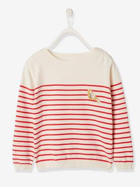 Mid season sale-Girls-Cardigans, Jumpers & Sweatshirts-Sailor-Type Jumper with Iridescent Patch, for Girls