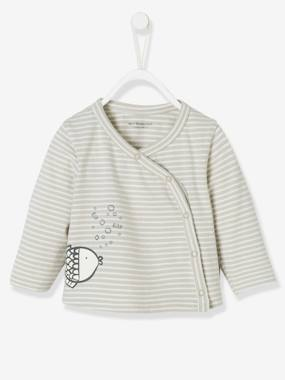 Baby-Cardigans & Sweaters-Striped Cardigan for Babies, Fish Motif