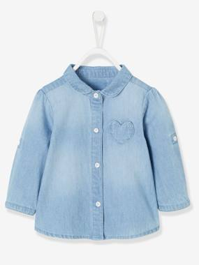 Baby-Blouses & Shirts-Faded Denim Shirt for Baby Girls