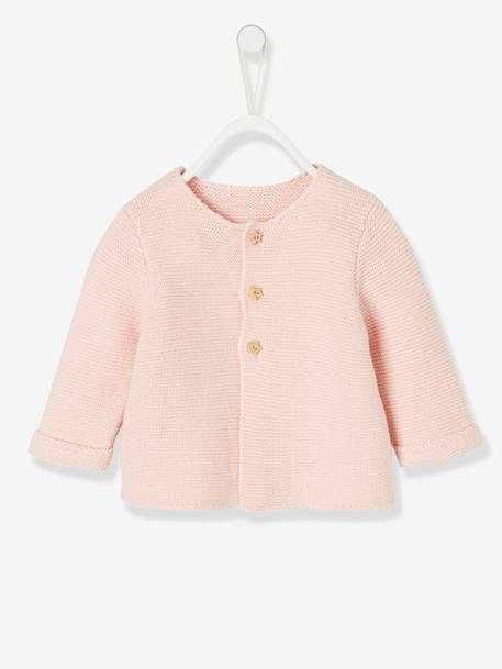 Knitted Cardigan in Purl Stitch for Newborns BLUE DARK SOLID+BLUE MEDIUM SOLID+PINK LIGHT SOLID+WHITE LIGHT SOLID - vertbaudet enfant