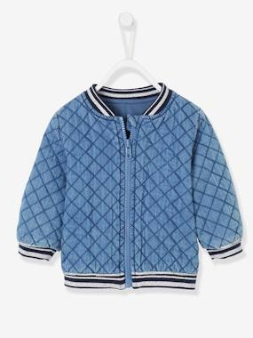 Coat & Jacket-Padded Denim Jacket for Baby Girls
