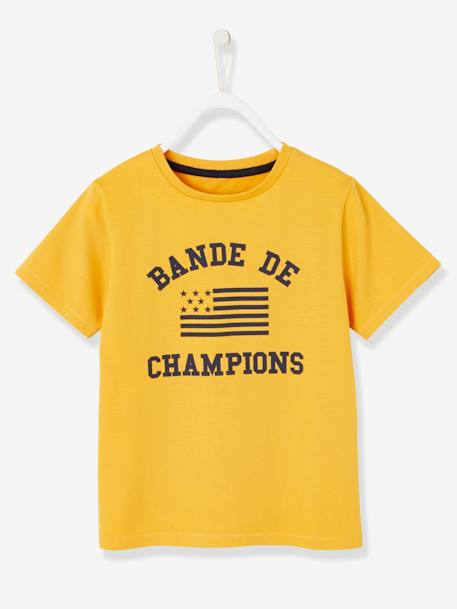 T-Shirt with 'Bande de Champions' Motif for Boys BLUE DARK SOLID WITH DESIGN+ORANGE MEDIUM SOLID - vertbaudet enfant