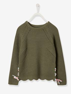 Mid season sale-Girls-Cardigans, Jumpers & Sweatshirts-Jumper with Flowery Ties, for Girls