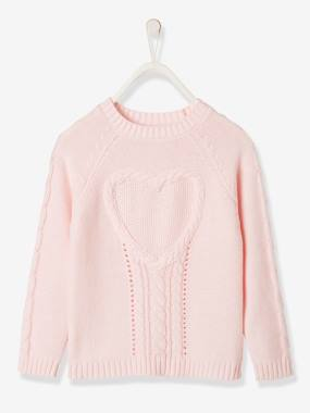 Vertbaudet Collection-Girls-Cardigans, Jumpers & Sweatshirts-Top in Fancy Knit with Heart for Girls