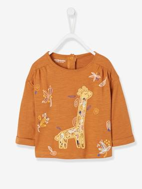Baby-T-shirts & Roll Neck T-Shirts-Top with Large Giraffe Motif for Baby Girls