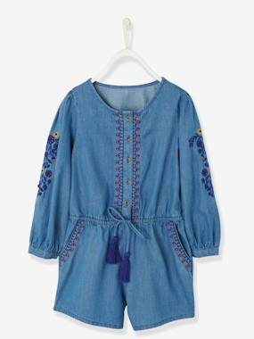 Girls-Dungarees & Playsuits-Embroidered Short Jumpsuit in Lightweight Denim, for Girls