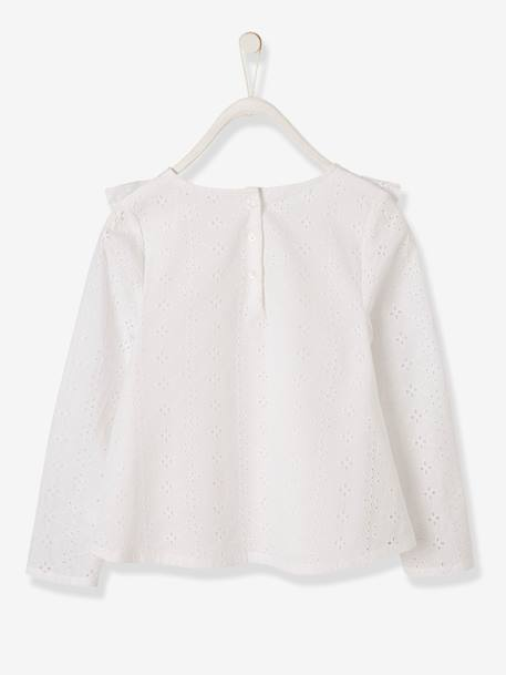Blouse with Broderie Anglaise for Girls PINK LIGHT SOLID+WHITE LIGHT SOLID - vertbaudet enfant
