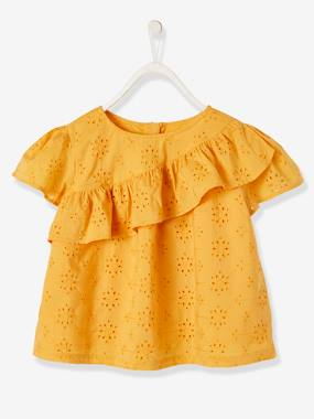 Girls-Blouses, Shirts & Tunics-Blouse with Ruffle in Broderie Anglaise for Girls