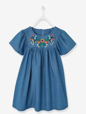 Vertbaudet Collection-Embroidered Dress in Lightweight Denim, for Girls