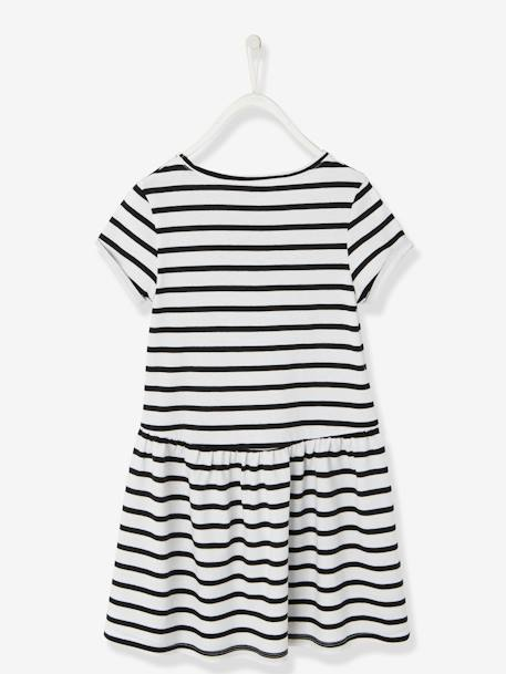 Girls' Short-Sleeved Dress BLUE DARK ALL OVER PRINTED+GREEN MEDIUM SOLID WITH DESIG+PINK LIGHT ALL OVER PRINTED+WHITE MEDIUM STRIPED+YELLOW MEDIUM SOLID WTH DESIGN - vertbaudet enfant