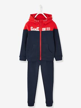Vertbaudet Collection-Boys-Sports Combo, Jacket with Zip & Fleece Joggers for Boys