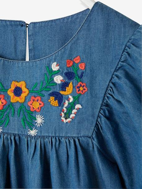 Embroidered Dress in Lightweight Denim, for Girls BLUE DARK WASCHED - vertbaudet enfant
