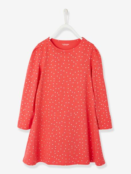 Girls' Dress in Jersey Knit BLUE DARK STRIPED+BLUE MEDIUM ALL OVER PRINTED+GREY MEDIUM  ALL OVER PRINTED+PINK MEDIUM ALL OVER PRINTED+RED DARK ALL OVER PRINTED - vertbaudet enfant