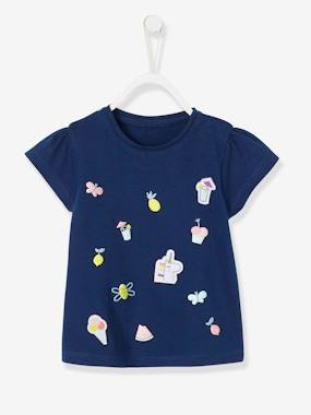 Baby-T-shirts & Roll Neck T-Shirts-T-shirts-Baby Girls' Top with Flocked Motif