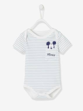 Minnie and Mickey-Baby-Stripes Print Mickey® Bodysuit