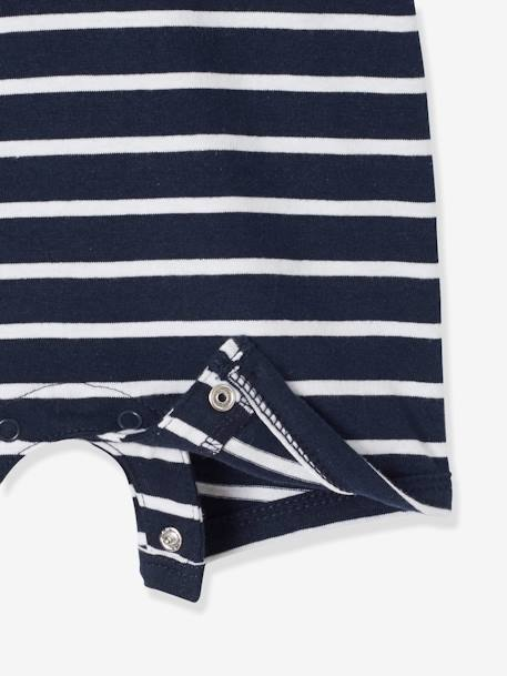 Baby Boys' Beach Playsuit with Polo Shirt Collar BLUE DARK STRIPED+BLUE MEDIUM STRIPED - vertbaudet enfant