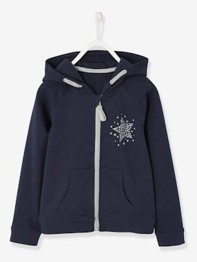 Girls-Cardigans, Jumpers & Sweatshirts-Sweatshirts & Hoodies-Sports Jacket, Zipped with Glittery Star Motif