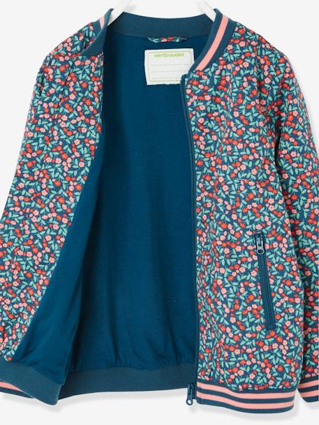 f3882e931a Flower Print Bomber Jacket for Girls BLUE MEDIUM ALL OVER PRINTED - vertbaudet  enfant