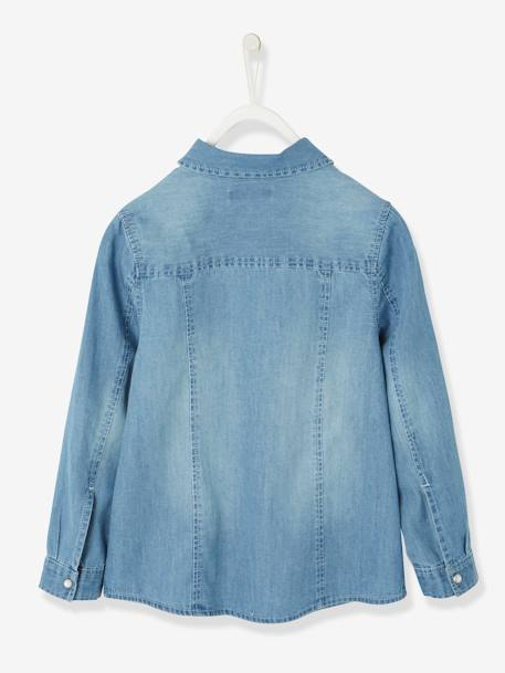 Denim Shirt with Embroidered Pocket for Girls BLUE LIGHT WASCHED - vertbaudet enfant