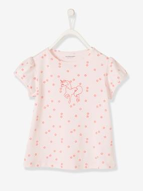 Bonnes affaires-Girls-Tops-T-Shirt with Embroidered Unicorn for Girls