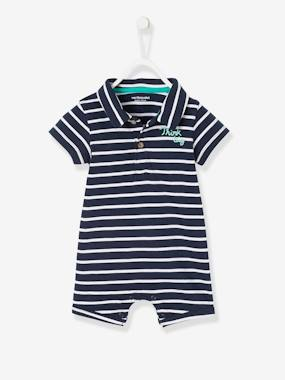 Baby-Dungarees & All-in-ones-Baby Boys' Beach Playsuit with Polo Shirt Collar