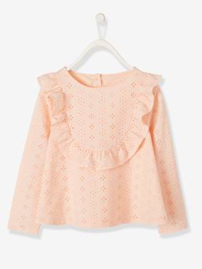 Girls-Blouses, Shirts & Tunics-Blouse with Broderie Anglaise for Girls