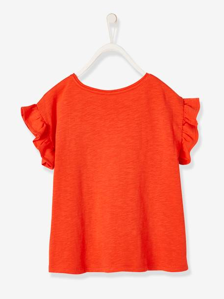Short-Sleeved T-Shirt for Girls, with Ruffles GREEN MEDIUM SOLID+ORANGE BRIGHT SOLID+PINK LIGHT SOLID+WHITE LIGHT SOLID+YELLOW LIGHT SOLID - vertbaudet enfant