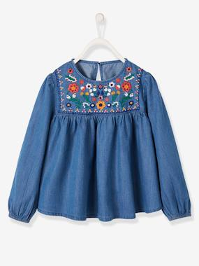 Girls-Embroidered Blouse in Lightweight Denim for Girls