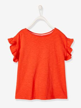 Girls-Tops-Short-Sleeved T-Shirt for Girls, with Ruffles