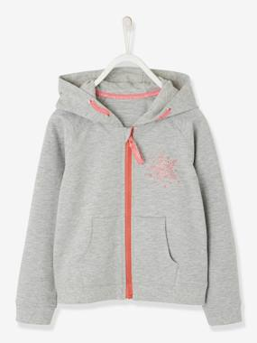 Nouvelle collection Vertbaudet-Sweat sport fille zippé motif étoile à paillettes