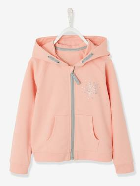 Vertbaudet Collection-Girls-Cardigans, Jumpers & Sweatshirts-Sports Jacket, Zipped with Glittery Star Motif