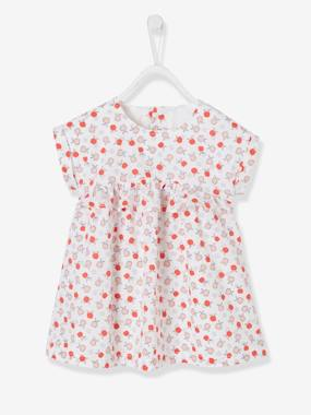 Summer collection-Baby-Short-Sleeved Dress with Graphic Motifs for Baby Girls