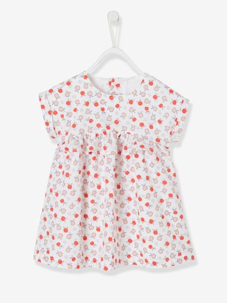 a29ab9edf14 Short-Sleeved Dress with Graphic Motifs for Baby Girls - white light all  over printed, Baby