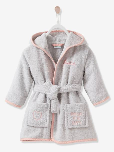 Cat Bathrobe for Babies GREY LIGHT SOLID WITH DESIGN - vertbaudet enfant