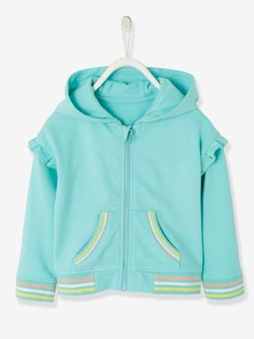 Girls-Cardigans, Jumpers & Sweatshirts-Hooded Jacket with Zip and Frills for Girls