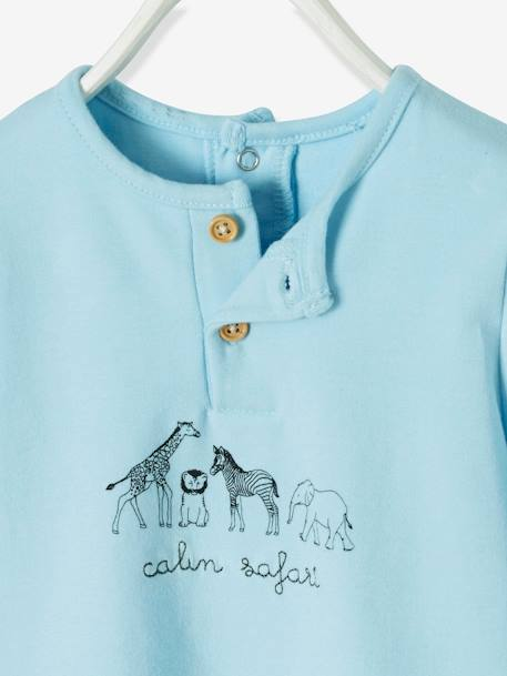 T-Shirt-Bodysuit for Newborn Babies, Animal Motifs BLUE LIGHT SOLID WITH DESIGN - vertbaudet enfant