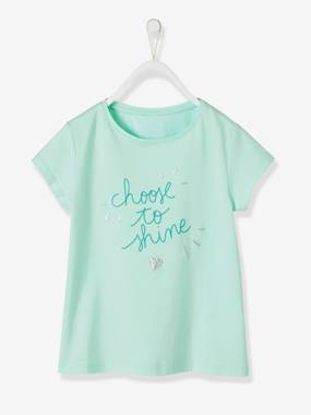 Vertbaudet Collection-Girls-Tops-T-Shirt for Girls with Fancy Message in Iridescent Puff Ink