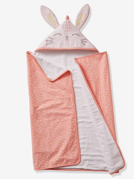 Gift Box With Bunny Bath Cape For Babies Pink Light Solid With Design Bedding Decor