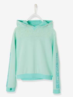 Girls-Cardigans, Jumpers & Sweatshirts-Sports Sweatshirt for Girls, Hooded with Graphic Motifs