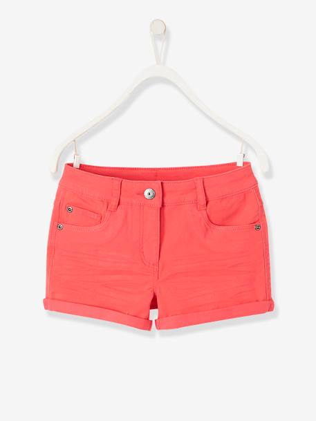 Girls' Stretch Twill Shorts GREEN LIGHT SOLID+PINK MEDIUM SOLID+YELLOW LIGHT SOLID - vertbaudet enfant